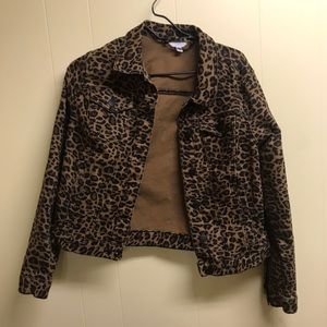 women's leopard print denim jacket